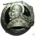 Viking Head Belt Buckle + display stand